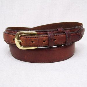 Brown Leather Sewn On Billet w/Solid Brass Buckle